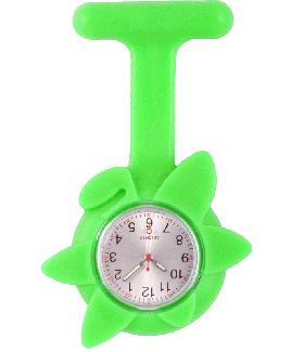 Montre Infirmière Printemps en Silicine Fleur Vert Citron