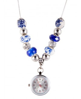 Collier Montre Perle Antique Bleu